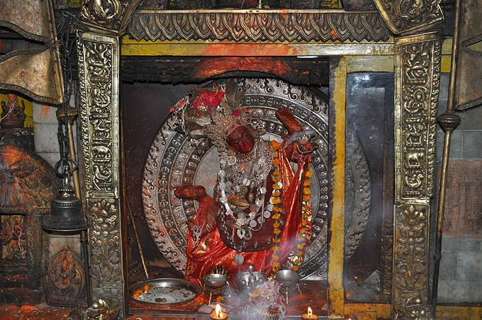 The Vajra Yogini statue that is being enshrined in the Vajra Yogini temple located in Patan.