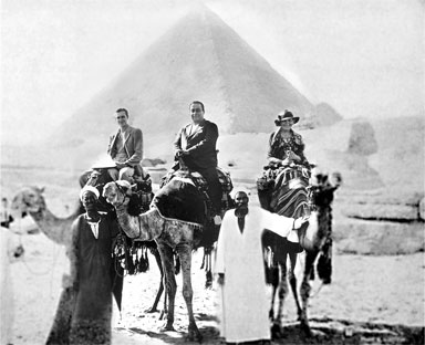 Yogananda in Egypt with his travel companions, Mr. Wright and Miss Bletch
