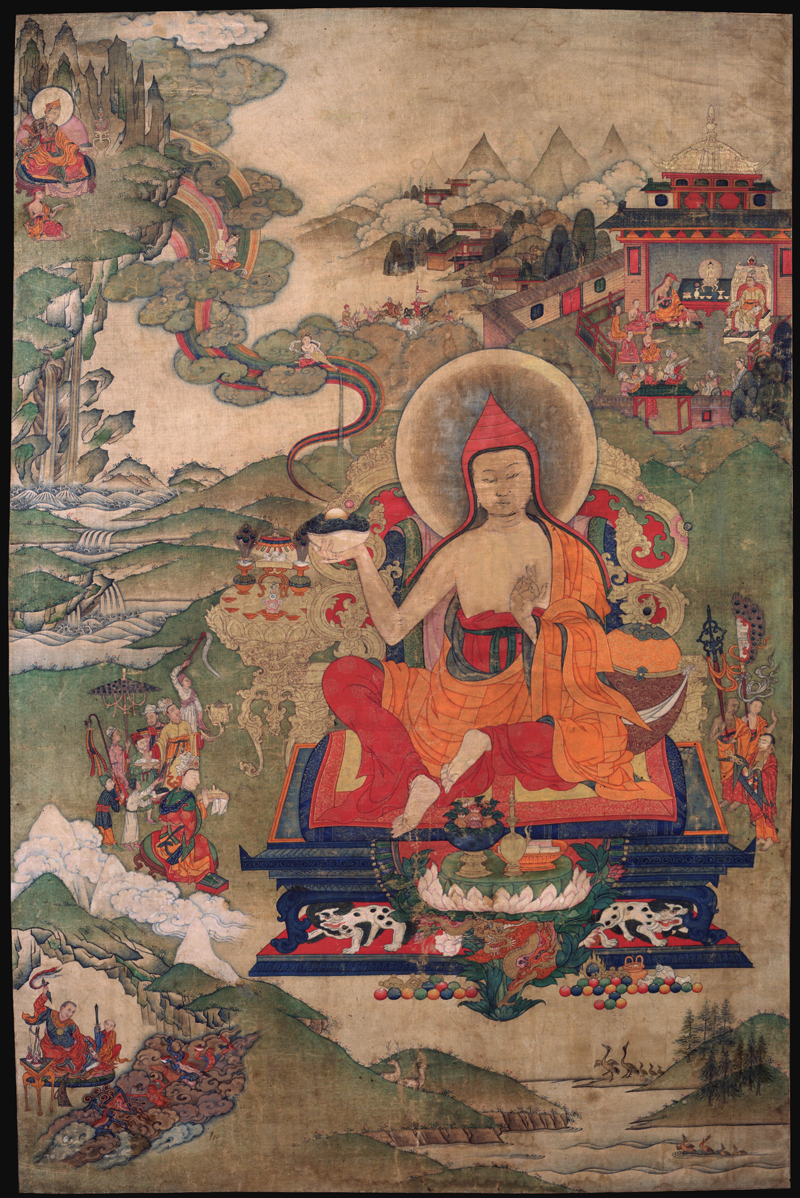A nineteenth century painting of Padmasambhava as Pema Jungne depicts his disciple Sokpo Pelgyi Yeshe in the lower left corner. More at HimalayanArt.org