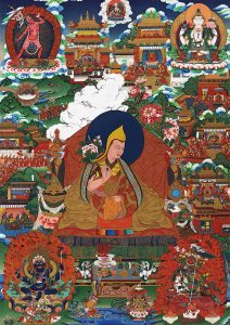 A biographical thangka of H.H. the 10th Dalai Lama Tsultrim Gyatso, surrounded by scenes from his life. Image credit: embracingcompassion.com. Click to enlarge.