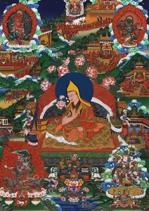 A biographical thangka of H.H. the 11th Dalai Lama Khedrub Gyatso, surrounded by scenes from his life. Image credit: embracingcompassion.com. Click to enlarge.