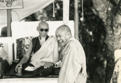 During a teaching by His Holiness Kyabje Zong Rinpoche with Lama Yeshe.