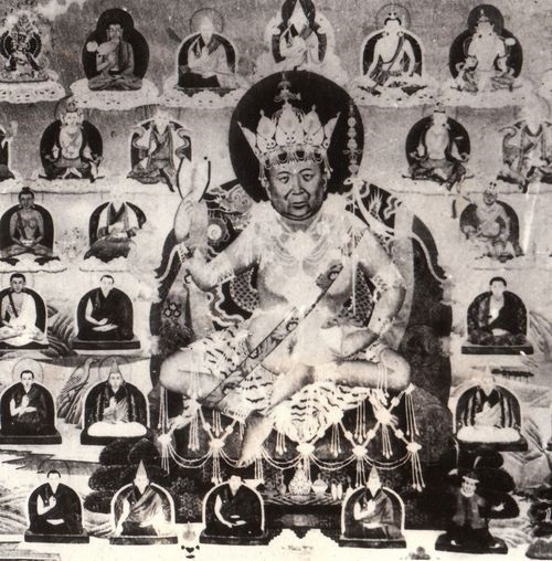 His Holiness Kyabje Pabongka Rinpoche, depicted in the accoutrements of a tantric practitioner. Pabongka Rinpoche was a master of sutra and tantra, and a great proliferator of the Dharma. Amongst his disciples was His Holiness Trijang Rinpoche, who later rose to prominence as the 14th Dalai Lama's junior tutor.
