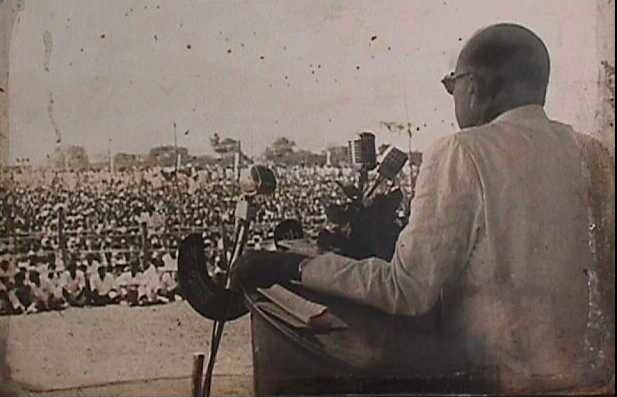 Dr Ambedkar addresses the crowd at Diksha Bhumi, Nagpur, on October 15, 1956, the day after he and over 400,000 people converted en-masse to Buddhism
