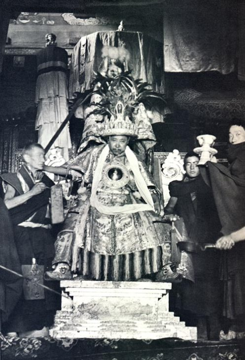 This is the famous oracle of Dorje Shugden in Dungkar Monastery in full trance of wrathful form of Dorje Shugden. While in trance of Dorje Shugden, he was famous for his clear prophecies, concise instructions and accurate predictions. People from all over Tibet, Mongolia and North India would travel to Dungkar Monastery to consult Dorje Shugden as his advice were heavily sought after. Domo Geshe Rinpoche was the head of this monastery and was a very devoted practitioner of Dorje Shugden, Tsongkapa, Vajra Yogini and Guru Rinpoche Padmasambhava. His Holiness the 14th Dalai Lama had consulted this famous oracle of Dorje Shugden while staying in Dungkar Monastery. Because the advice from Dorje Shugden was clear and concise and accurate, Dalai Lama developed great respect for Dorje Shugden and composed the special prayer.
