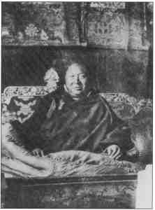 His Holiness Kyabje Pabongka Rinpoche Jetsun Dechen Nyingpo who was the root guru of His Holiness Kyabje Ling Rinpoche and His Holiness Kyabje Trijang Rinpoche. Both Ling Rinpoche and Trijang Rinpoche are the root gurus (tutors) of His Holiness the 14th Dalai Lama.