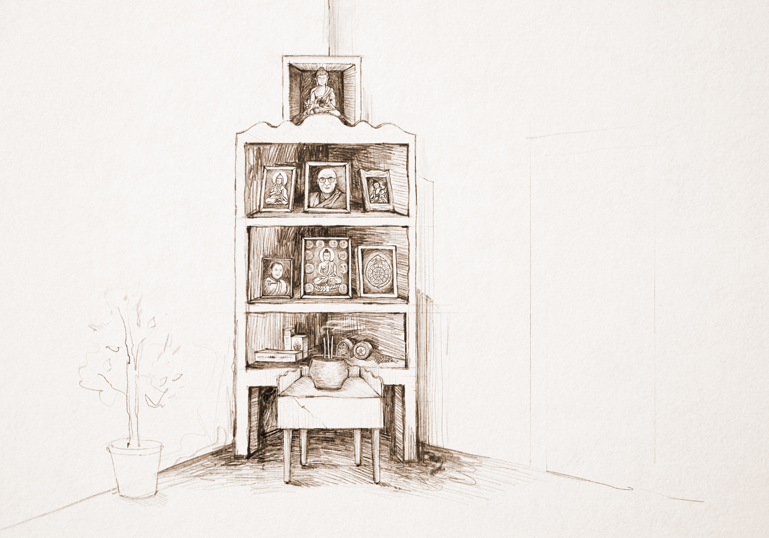 A sketch of our family's altar in my childhood home. On the top was the Medicine Buddha statue I prayed to for help to stop the rain. On the next level are framed photos of Lama Tsongkhapa, His Holiness the Dalai Lama and Green Tara. On the level after that are framed photos of the previous Telo Rinpoche, the life story of Buddha Shakyamuni and Sipa Khorlo, an astrological symbol that all married Mongolian couples have in their homes for good luck. Click to enlarge.