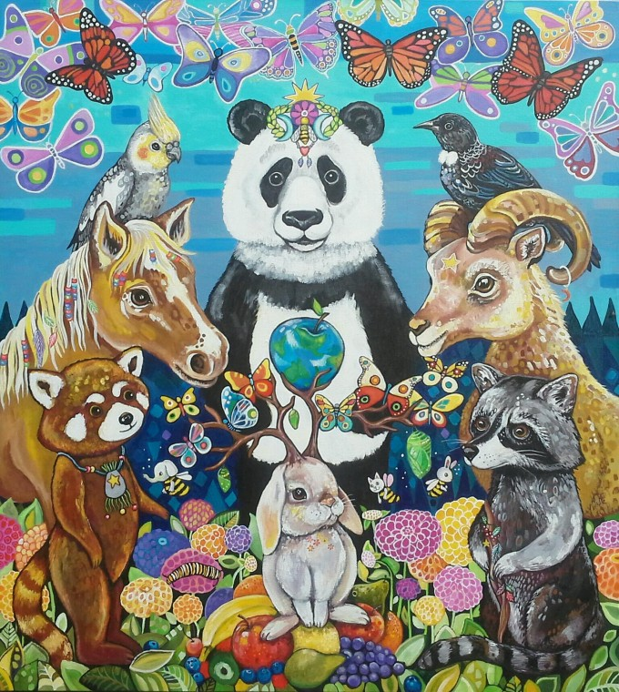 A coming together of spirit animals to find ways to heal and transform the earth. Click on image to enlarge.