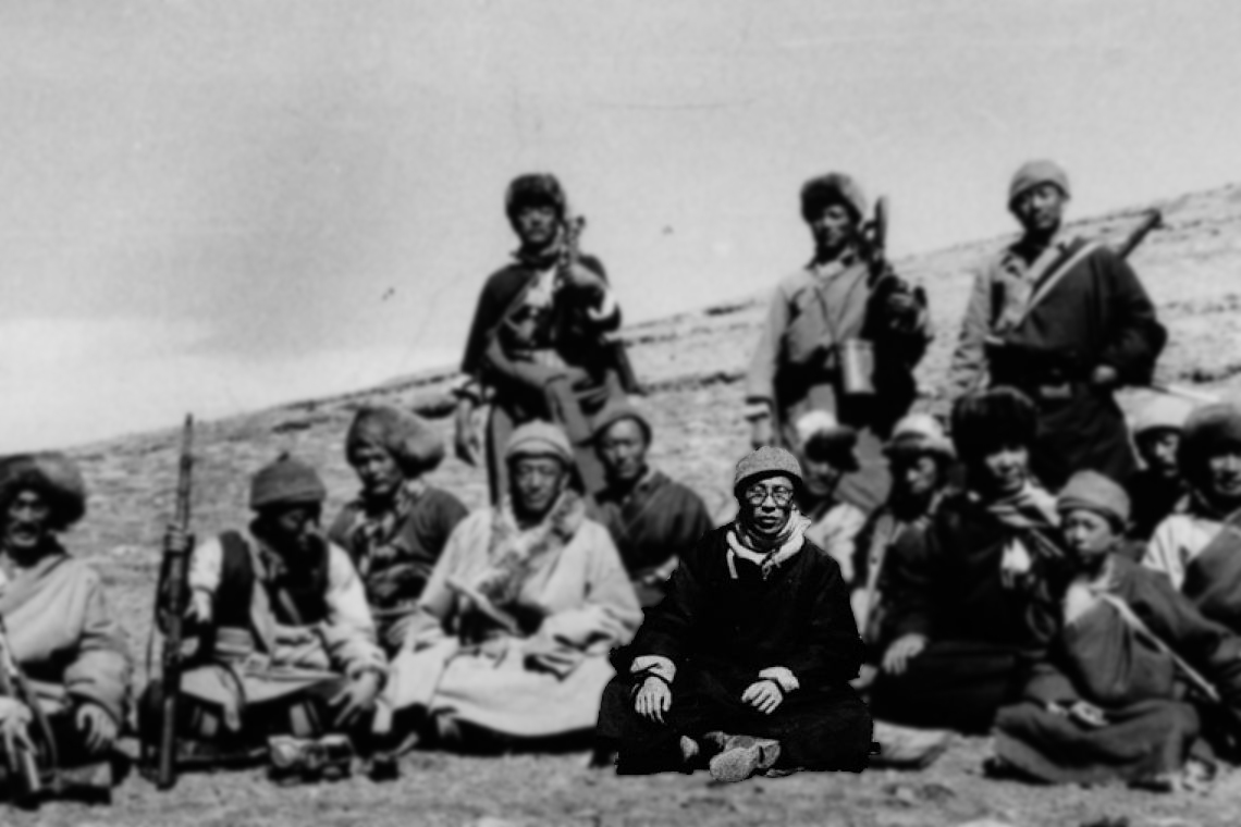 His Holiness the Dalai Lama during his famous 1959 escape to India, pictured here with members of the Chushi Gangdruk guerrilla group which was formed on Dorje Shugden's instructions They escorted the Dalai Lama into exile in India, all the way invoking Dorje Shugden to keep them safe and protected.