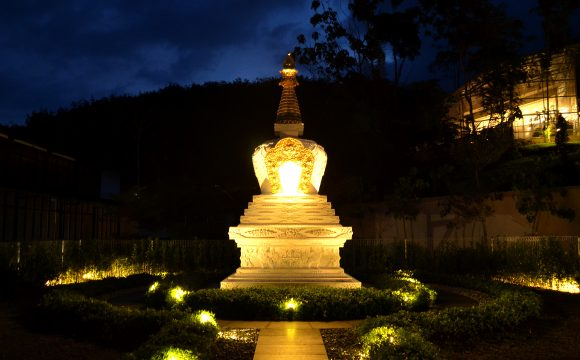 Spectacular view of the Vajrayogini Stupa at night.