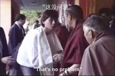 When I was in the USA, I requested His Holiness the Dalai Lama for ordination and he agreed. Somehow, someone was able to capture this moment on film which you can watch here.