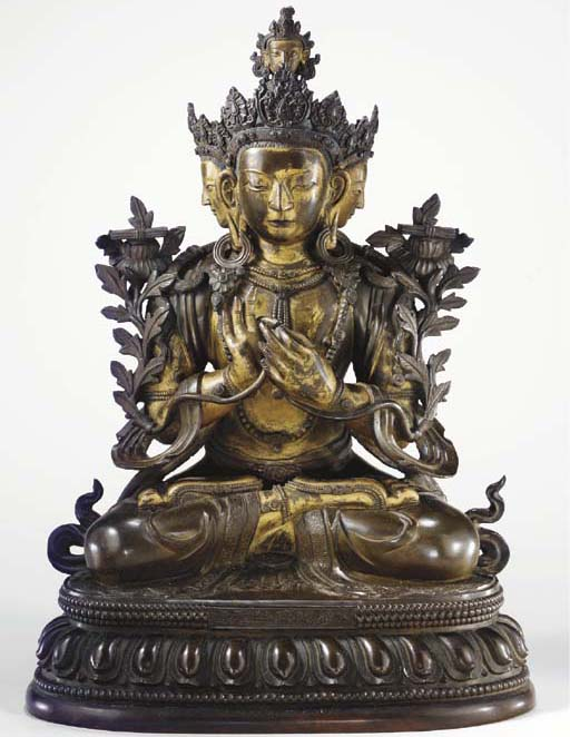 A bronze statue of Guhya Manjushri made in China during Emperor Qianlong's reign