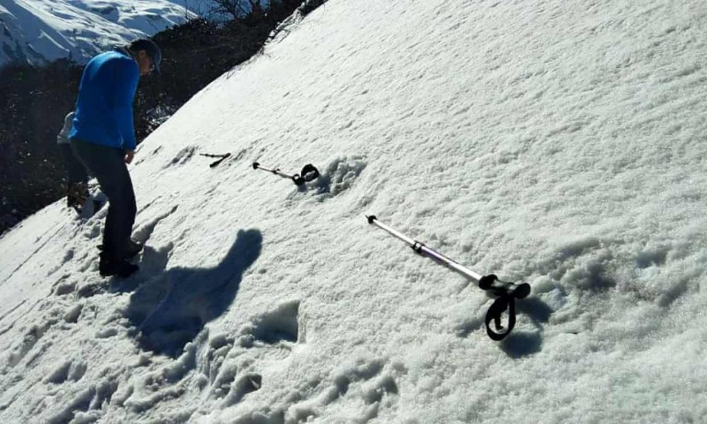 A photo taken by the Indian army showing large mysterious footprints in the snow near the Makalu base camp in the Himalayas. Photograph: AFP/Getty