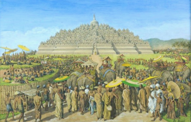 A painting by G.B. Hooijer (sekitar 1916 - 1919) of Borobudur as it would have appeared in its heyday. Click to enlarge.