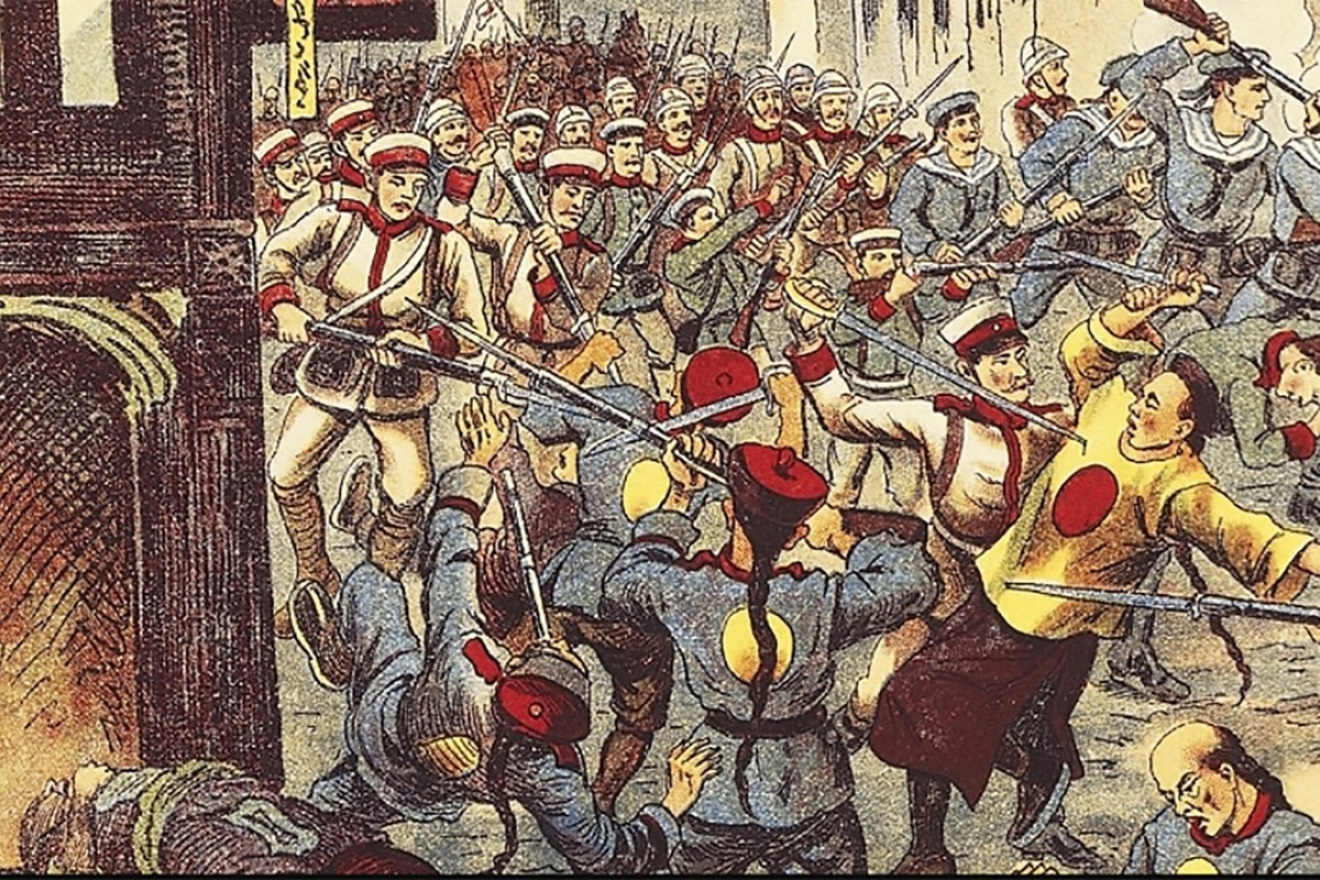 An artist's illustration of the Boxer Uprising