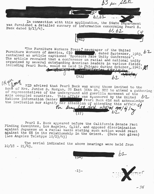 An excerpt from Pearl's FBI file. It is clear that she was closely watched by the FBI, with her every move and publication monitored and record.