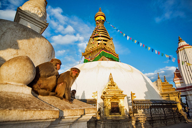 Magnificent Swayambhunath Stupa. By the time I left that day, it was too late to get a taxi and very dark. That is why I had to ask for help from a monastery, which later turned out to be Phelgyeling.
