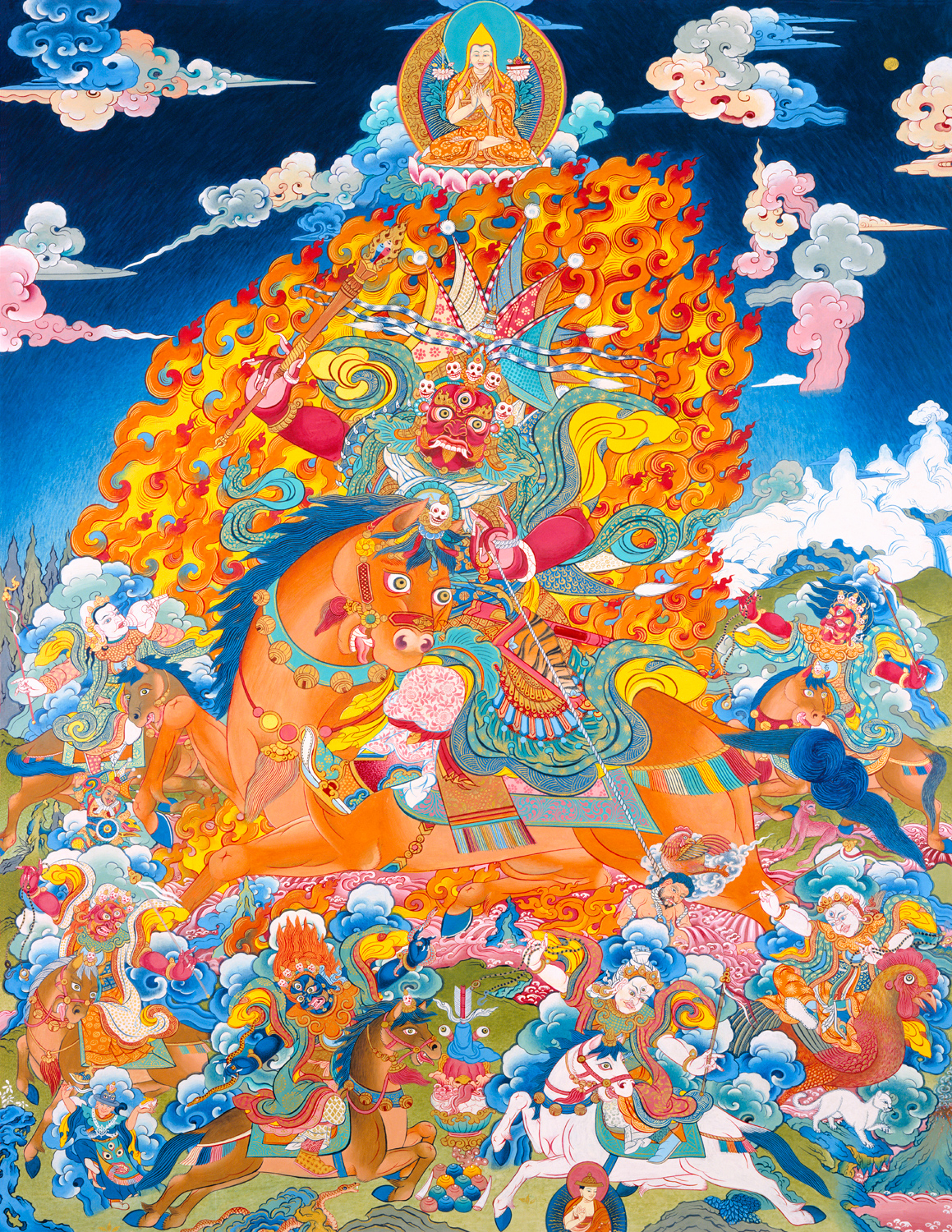 The Dharma Protector Setrap and his divine entourage. Click to enlarge.