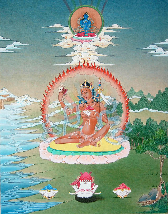 The female Mahasiddha Niguma who bestowed various empowerments and practices upon Khyungpo Neljor. Click to enlarge.