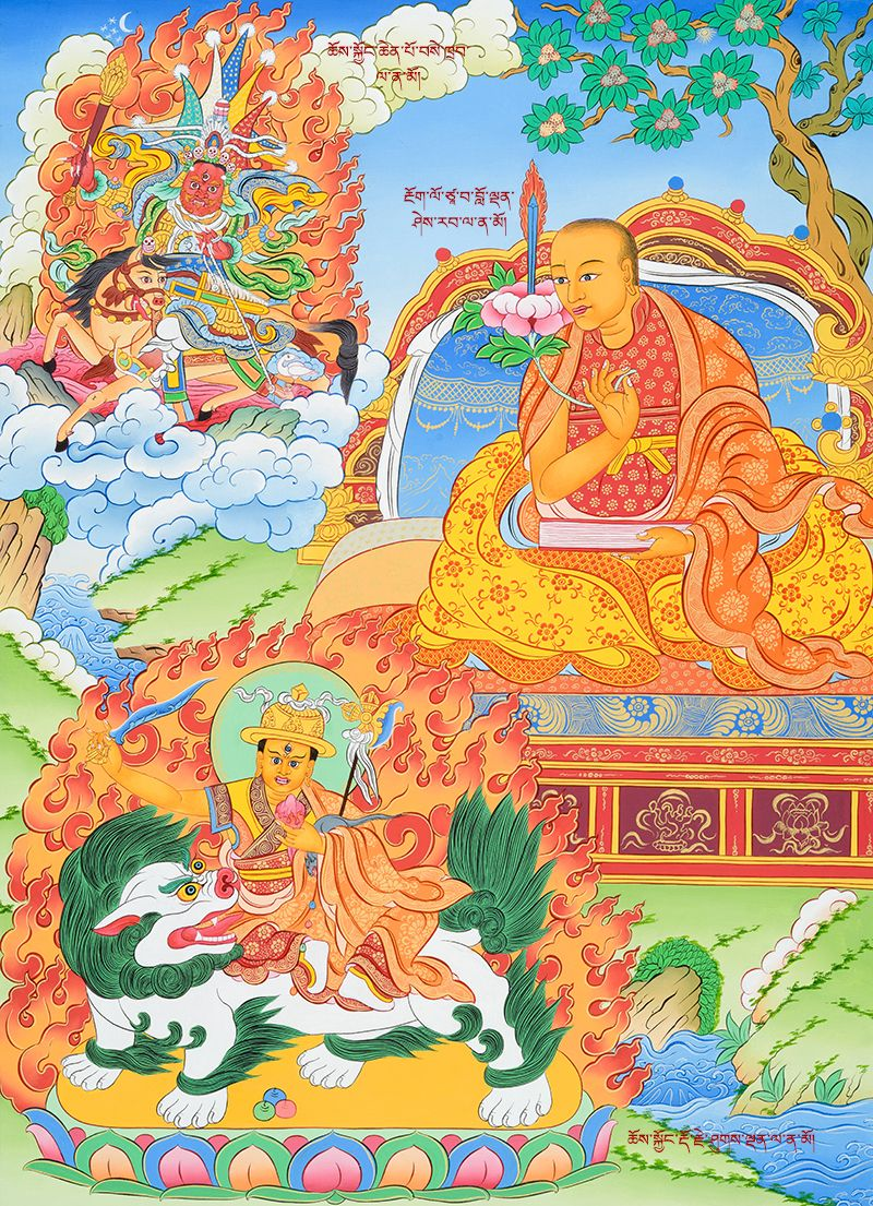 Loden Sherab (middle right) pictured here with his personal Dharma Protector Setrap (top left). In a future lifetime, he took rebirth as Tulku Drakpa Gyeltsen and upon Tulku Drakpa Gyeltsen's murder, arose as Dorje Shugden (bottom left). Click on the image for more free downloads.